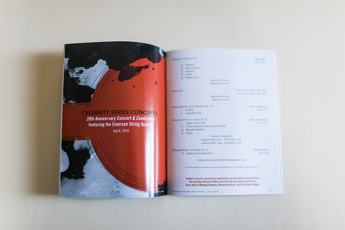 Heifetz International Music Institute: Festival of Concerts Program Book, Poster & Collateral-5